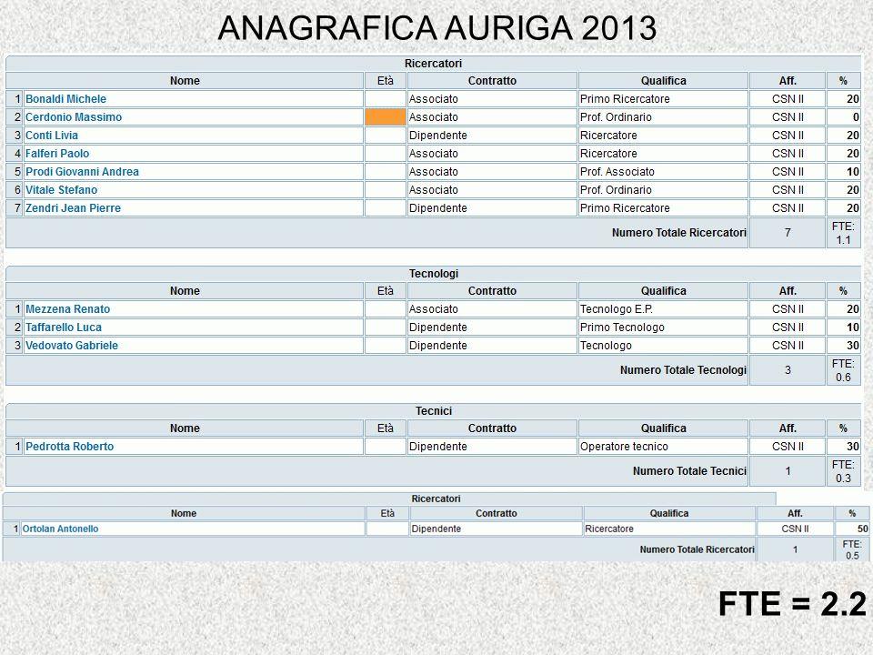 ANAGRAFICA AURIGA 2013 FTE = 2.2
