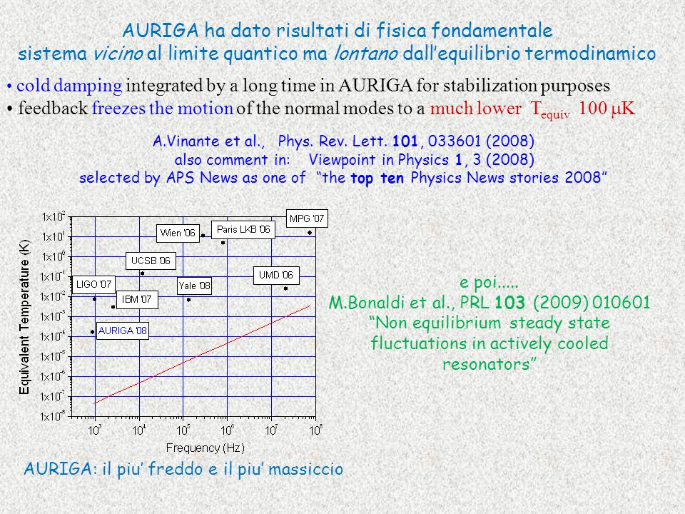 AURIGA ha dato risultati di fisica fondamentale sistema vicino al limite quantico ma lontano dallequilibrio termodinamico cold damping integrated by a long time in AURIGA for stabilization purposes feedback freezes the motion of the normal modes to a much lower T equiv 100 K A.Vinante et al., Phys.