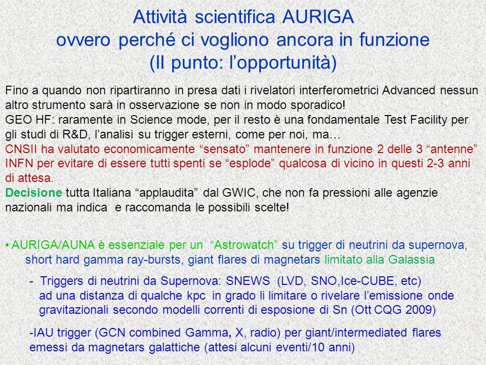 AURIGA/AUNA è essenziale per un Astrowatch su trigger di neutrini da supernova, short hard gamma ray-bursts, giant flares di magnetars limitato alla Galassia - Triggers di neutrini da Supernova: SNEWS (LVD, SNO,Ice-CUBE, etc) ad una distanza di qualche kpc in grado li limitare o rivelare lemissione onde gravitazionali secondo modelli correnti di esposione di Sn (Ott CQG 2009) -IAU trigger (GCN combined Gamma, X, radio) per giant/intermediated flares emessi da magnetars galattiche (attesi alcuni eventi/10 anni) Attività scientifica AURIGA ovvero perché ci vogliono ancora in funzione (II punto: lopportunità) Fino a quando non ripartiranno in presa dati i rivelatori interferometrici Advanced nessun altro strumento sarà in osservazione se non in modo sporadico.