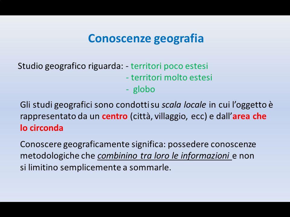 Conoscenze geografia Studio geografico riguarda: - territori poco estesi - territori molto estesi - globo Gli studi geografici sono condotti su scala