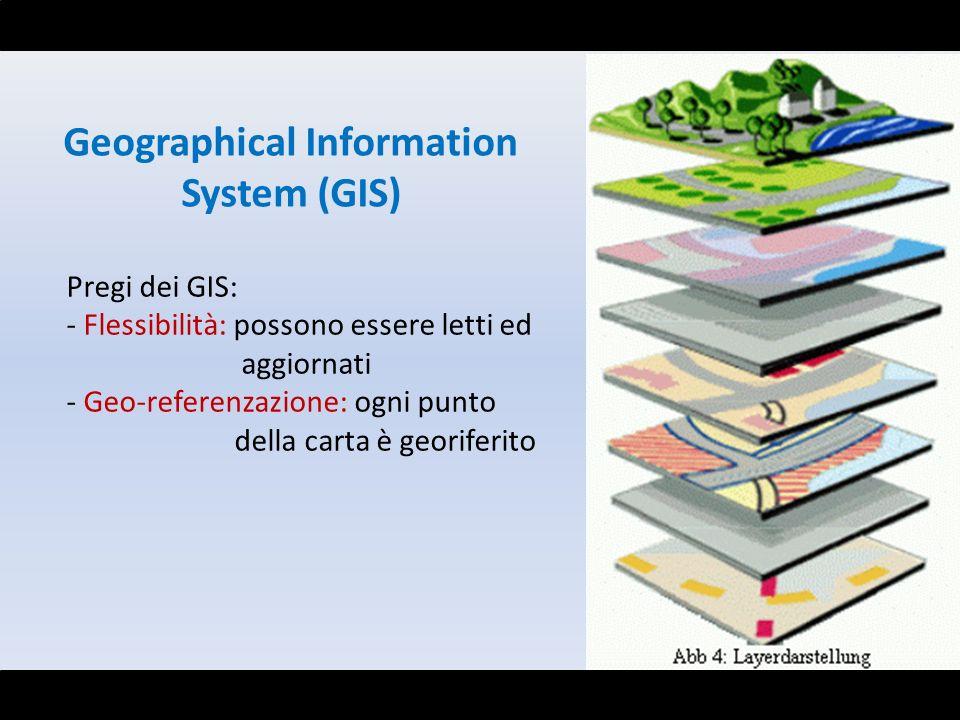 Geographical Information System (GIS) Pregi dei GIS: - Flessibilità: possono essere letti ed aggiornati - Geo-referenzazione: ogni punto della carta è