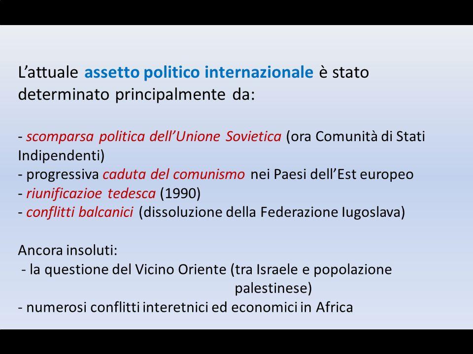 Lattuale assetto politico internazionale è stato determinato principalmente da: - scomparsa politica dellUnione Sovietica (ora Comunità di Stati Indip