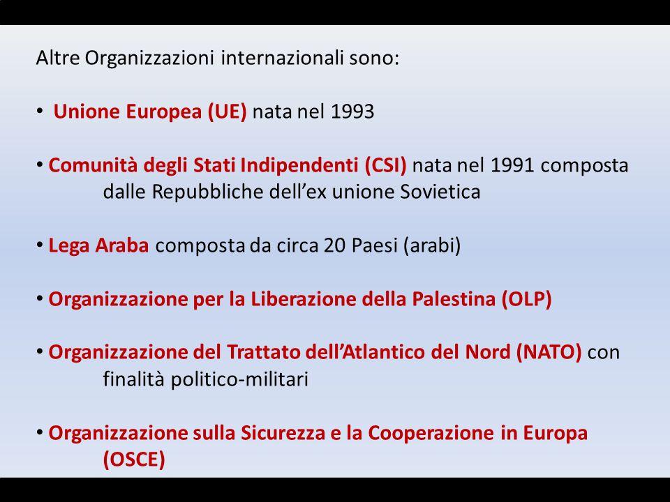 Altre Organizzazioni internazionali sono: Unione Europea (UE) nata nel 1993 Comunità degli Stati Indipendenti (CSI) nata nel 1991 composta dalle Repub