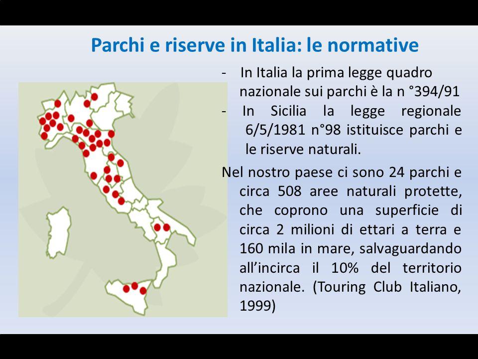 - In Italia la prima legge quadro nazionale sui parchi è la n °394/91 - In Sicilia la legge regionale 6/5/1981 n°98 istituisce parchi e le riserve nat