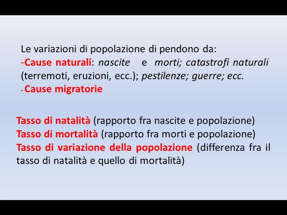 Le variazioni di popolazione di pendono da: -Cause naturali: nascite e morti; catastrofi naturali (terremoti, eruzioni, ecc.); pestilenze; guerre; ecc