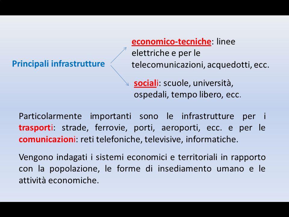 Principali infrastrutture economico-tecniche: linee elettriche e per le telecomunicazioni, acquedotti, ecc. sociali: scuole, università, ospedali, tem