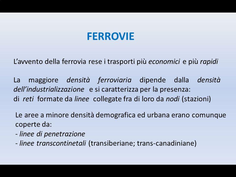 FERROVIE Lavvento della ferrovia rese i trasporti più economici e più rapidi La maggiore densità ferroviaria dipende dalla densità dellindustrializzaz