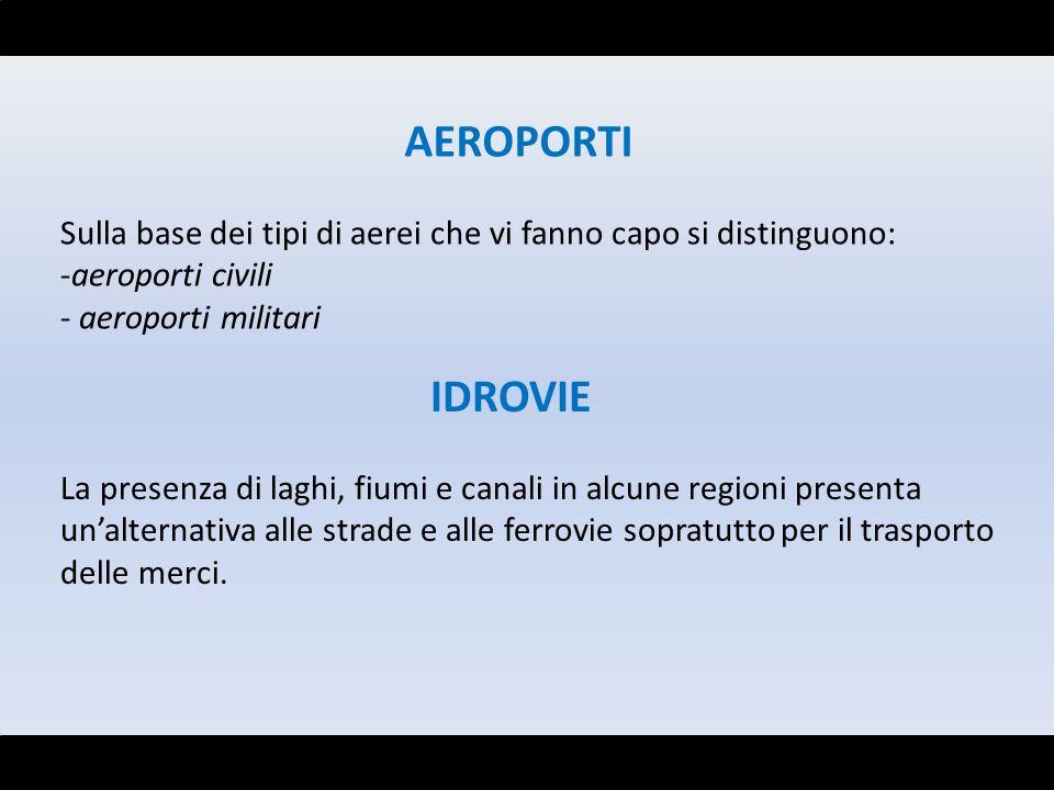 AEROPORTI Sulla base dei tipi di aerei che vi fanno capo si distinguono: -aeroporti civili - aeroporti militari IDROVIE La presenza di laghi, fiumi e