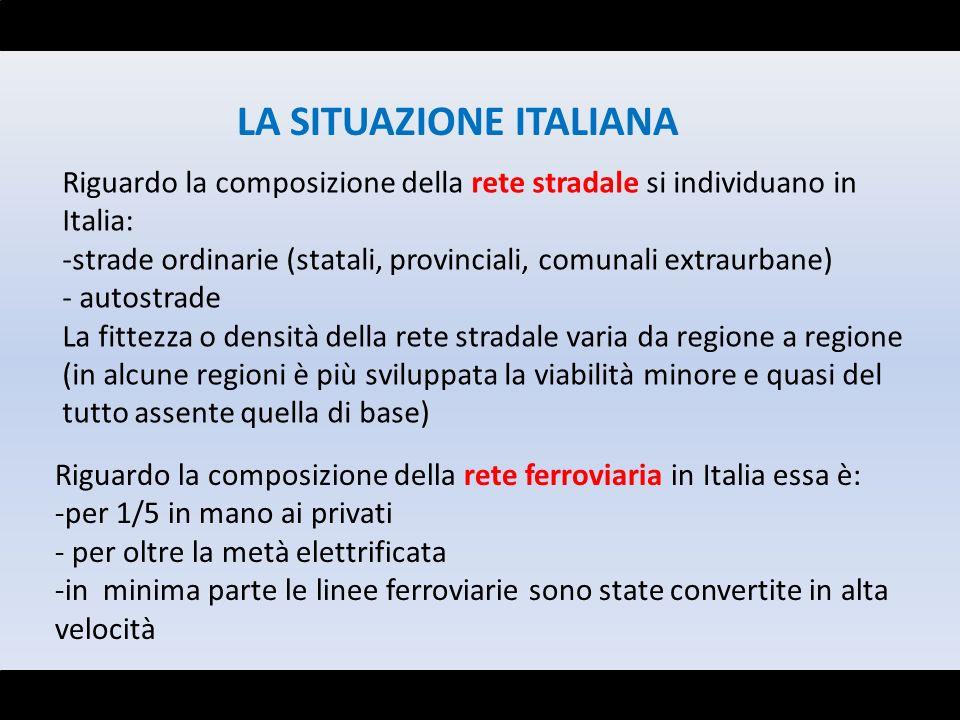 LA SITUAZIONE ITALIANA Riguardo la composizione della rete stradale si individuano in Italia: -strade ordinarie (statali, provinciali, comunali extrau
