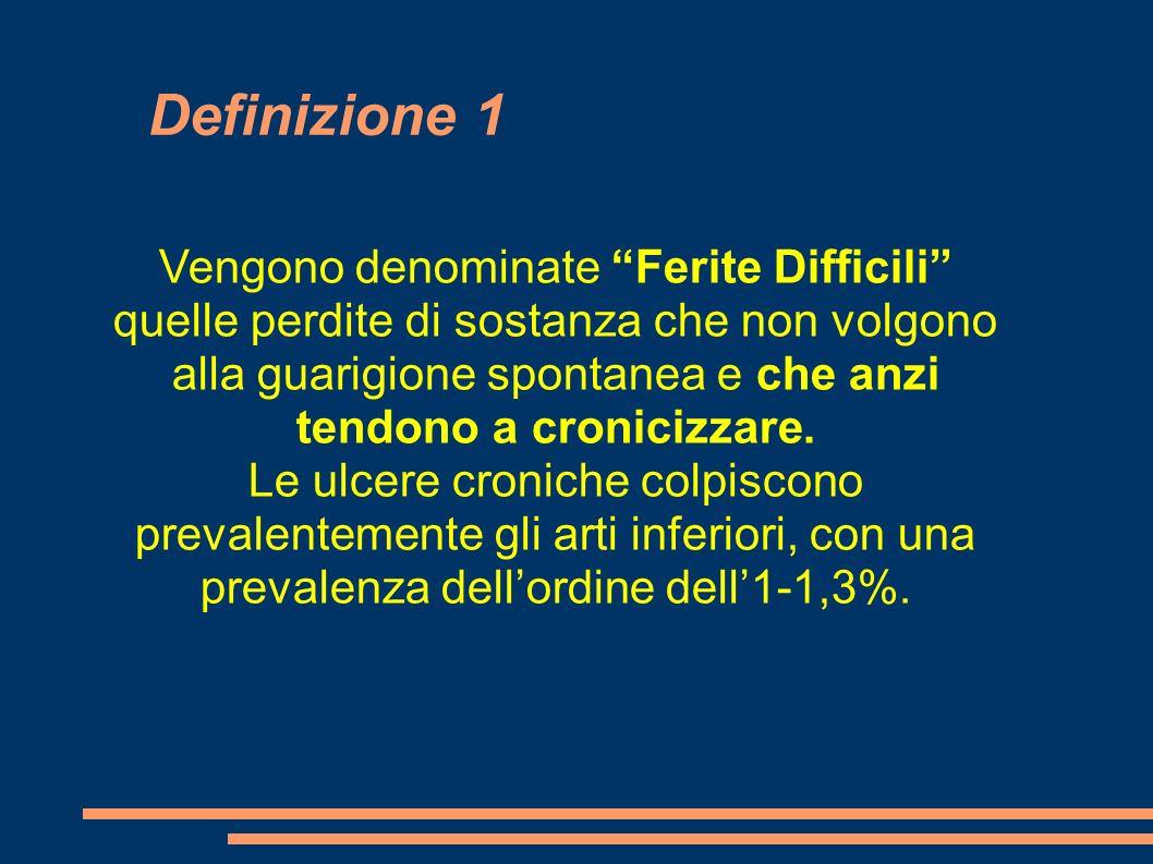 Definizione 1 Vengono denominate Ferite Difficili quelle perdite di sostanza che non volgono alla guarigione spontanea e che anzi tendono a cronicizza