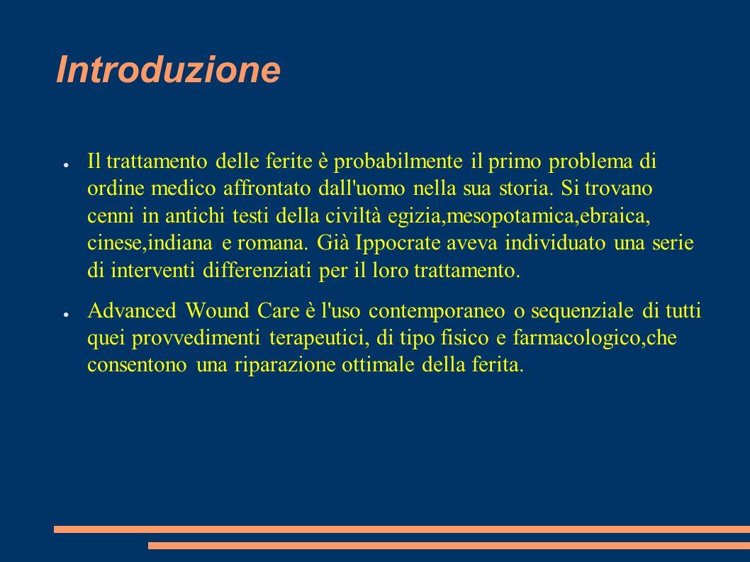 Introduzione Il trattamento delle ferite è probabilmente il primo problema di ordine medico affrontato dall'uomo nella sua storia. Si trovano cenni in