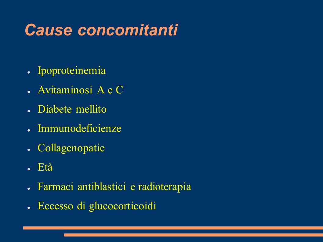 Cause concomitanti Ipoproteinemia Avitaminosi A e C Diabete mellito Immunodeficienze Collagenopatie Età Farmaci antiblastici e radioterapia Eccesso di