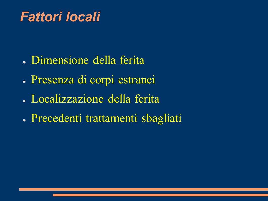 Fattori locali Dimensione della ferita Presenza di corpi estranei Localizzazione della ferita Precedenti trattamenti sbagliati
