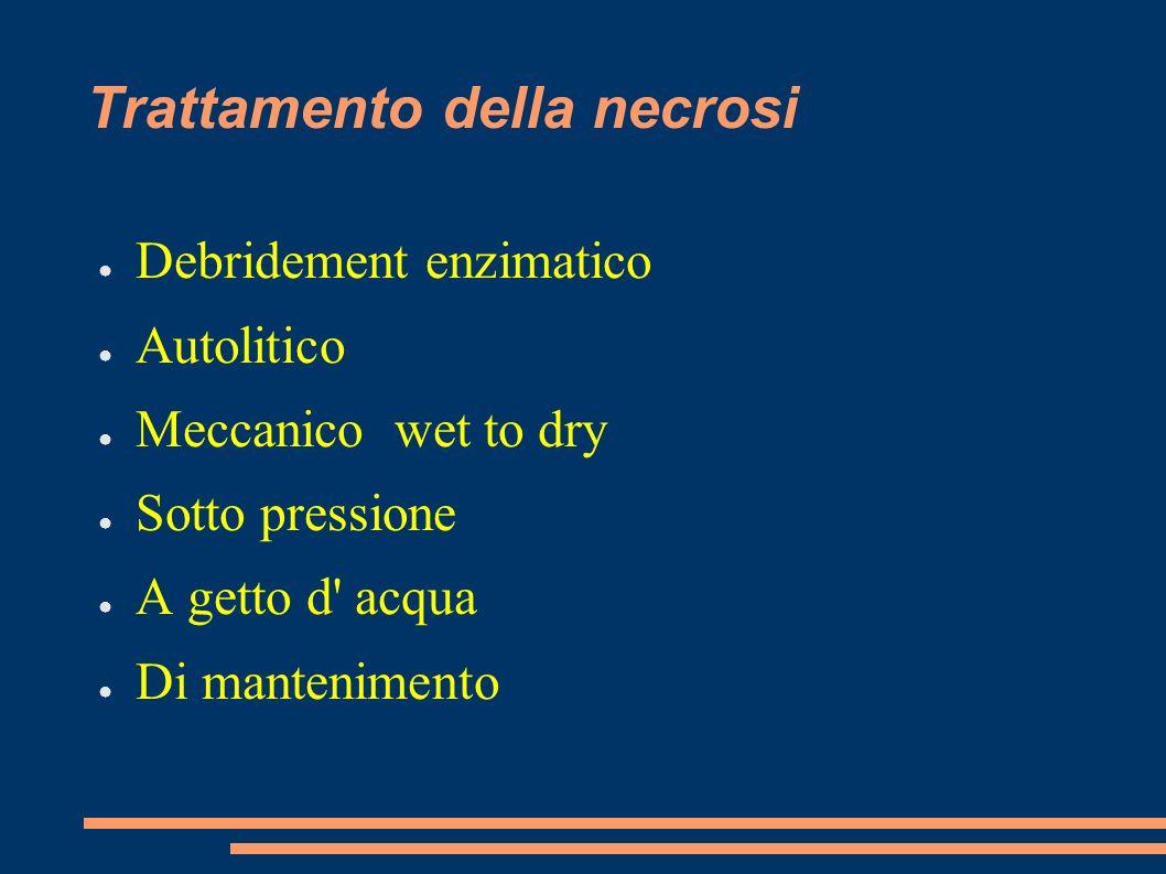 Trattamento della necrosi Debridement enzimatico Autolitico Meccanico wet to dry Sotto pressione A getto d' acqua Di mantenimento