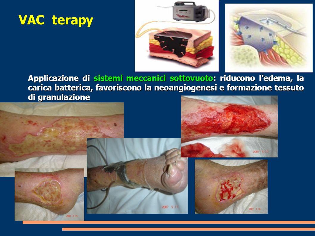 VAC terapy Applicazione di sistemi meccanici sottovuoto: riducono ledema, la carica batterica, favoriscono la neoangiogenesi e formazione tessuto di g