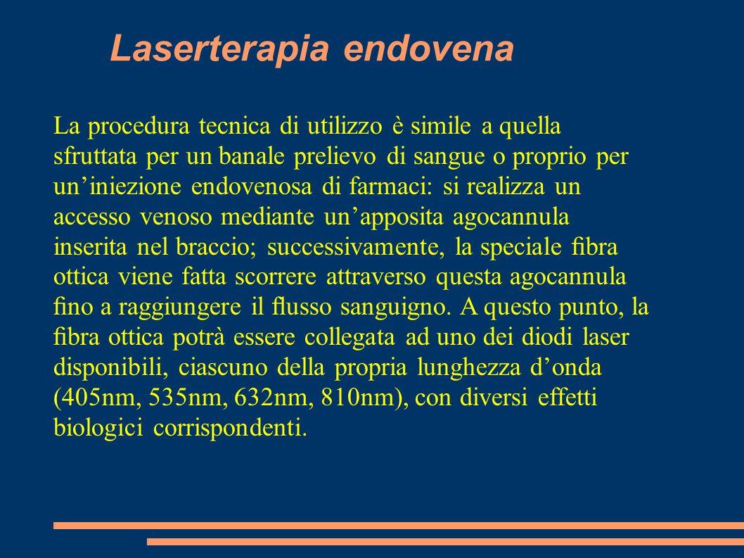 Laserterapia endovena La procedura tecnica di utilizzo è simile a quella sfruttata per un banale prelievo di sangue o proprio per uniniezione endoveno