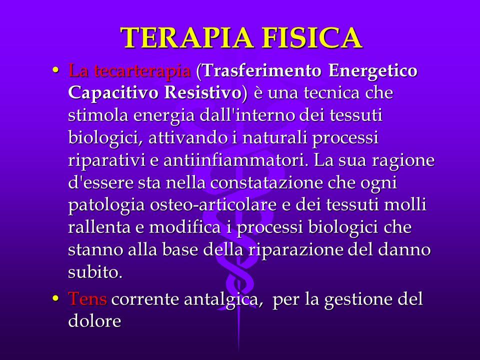 TERAPIA FISICA La tecarterapia ( Trasferimento Energetico Capacitivo Resistivo ) è una tecnica che stimola energia dall'interno dei tessuti biologici,