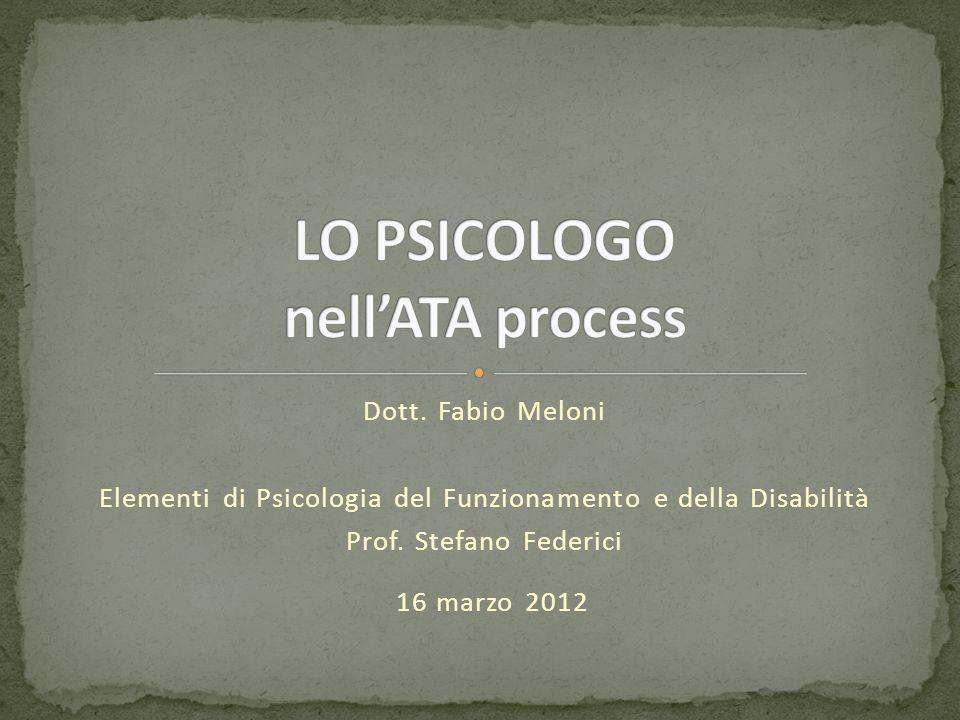 Dott. Fabio Meloni Elementi di Psicologia del Funzionamento e della Disabilità Prof. Stefano Federici 16 marzo 2012
