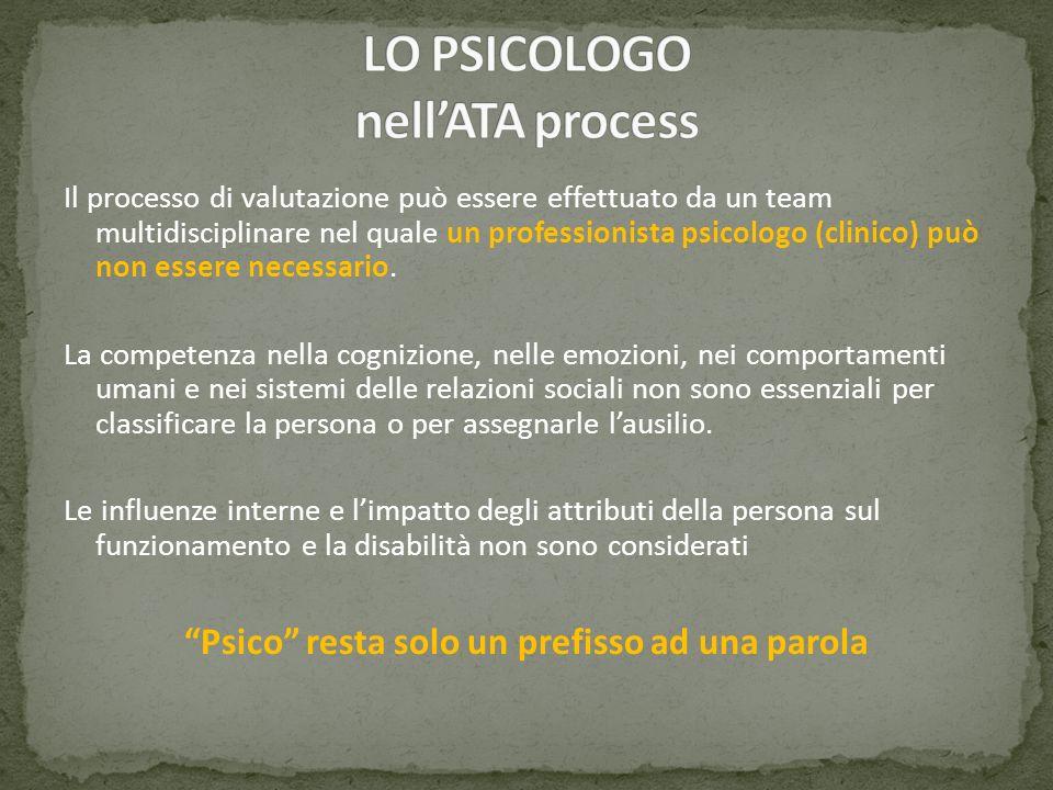 Il processo di valutazione può essere effettuato da un team multidisciplinare nel quale un professionista psicologo (clinico) può non essere necessari