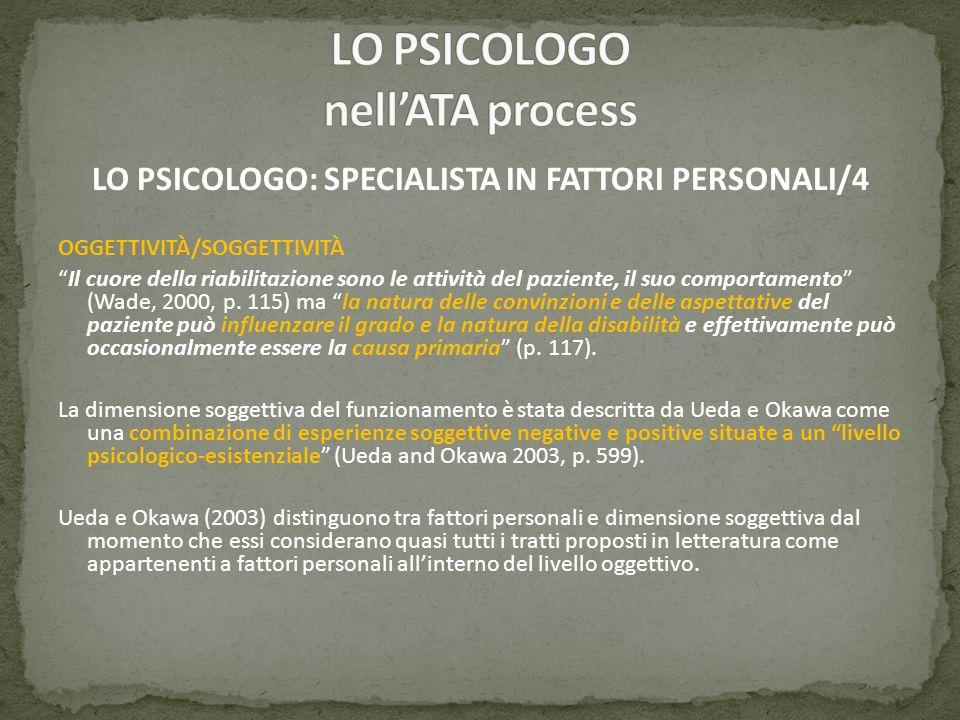 LO PSICOLOGO: SPECIALISTA IN FATTORI PERSONALI/4 OGGETTIVITÀ/SOGGETTIVITÀ Il cuore della riabilitazione sono le attività del paziente, il suo comporta