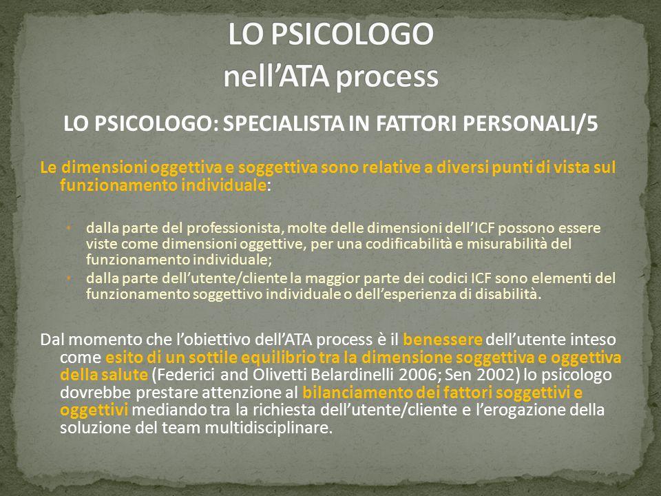 LO PSICOLOGO: SPECIALISTA IN FATTORI PERSONALI/5 Le dimensioni oggettiva e soggettiva sono relative a diversi punti di vista sul funzionamento individ
