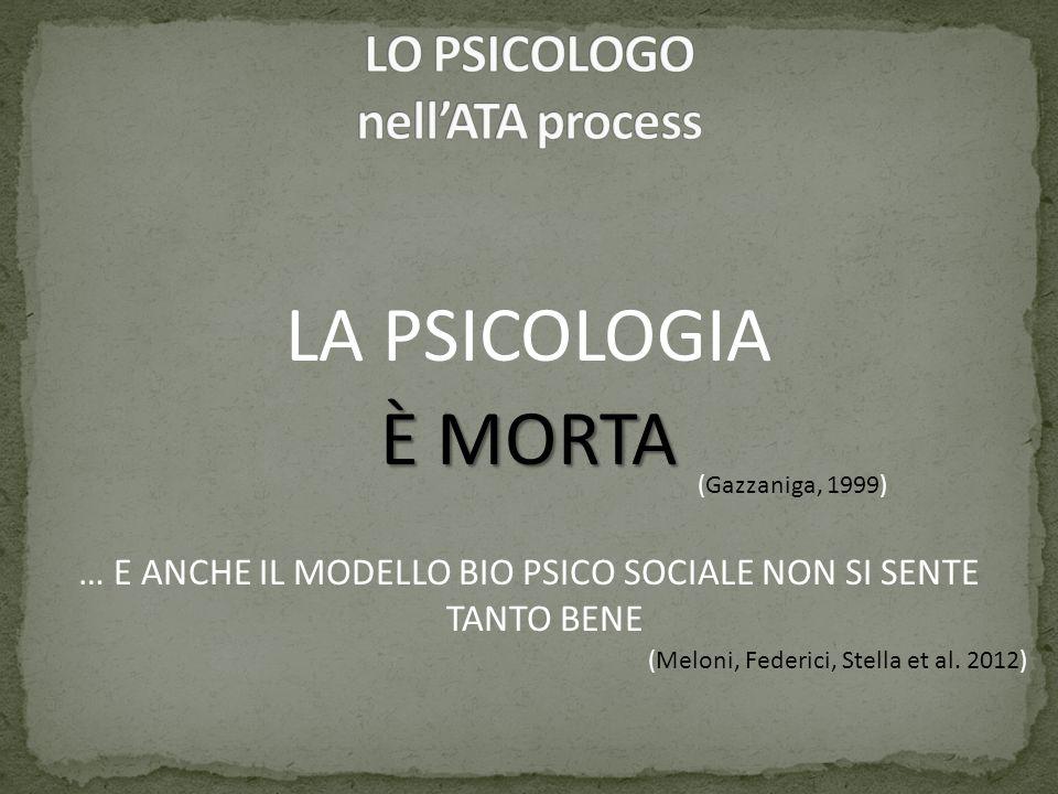 LA PSICOLOGIA È MORTA … E ANCHE IL MODELLO BIO PSICO SOCIALE NON SI SENTE TANTO BENE (Gazzaniga, 1999) (Meloni, Federici, Stella et al. 2012)