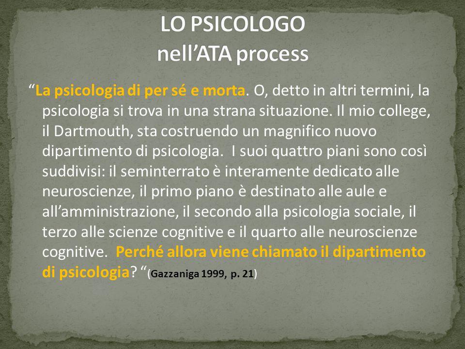 La psicologia di per sé e morta. O, detto in altri termini, la psicologia si trova in una strana situazione. Il mio college, il Dartmouth, sta costrue