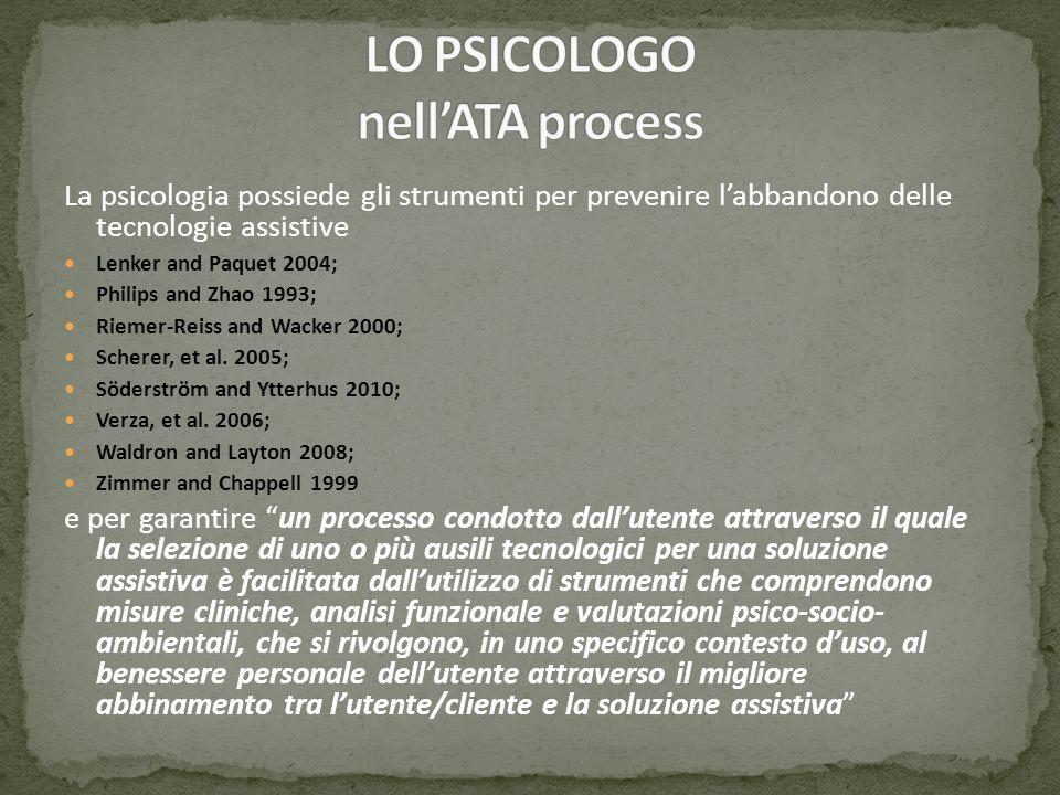 La psicologia possiede gli strumenti per prevenire labbandono delle tecnologie assistive Lenker and Paquet 2004; Philips and Zhao 1993; Riemer-Reiss a
