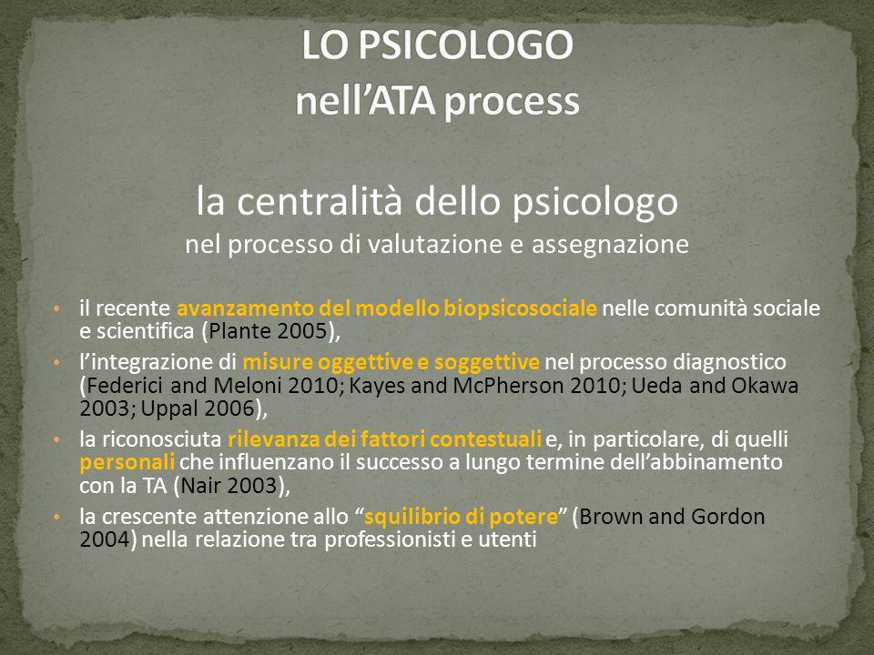 la centralità dello psicologo nel processo di valutazione e assegnazione il recente avanzamento del modello biopsicosociale nelle comunità sociale e s