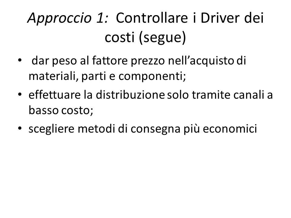 dar peso al fattore prezzo nellacquisto di materiali, parti e componenti; effettuare la distribuzione solo tramite canali a basso costo; scegliere metodi di consegna più economici Approccio 1: Controllare i Driver dei costi (segue)