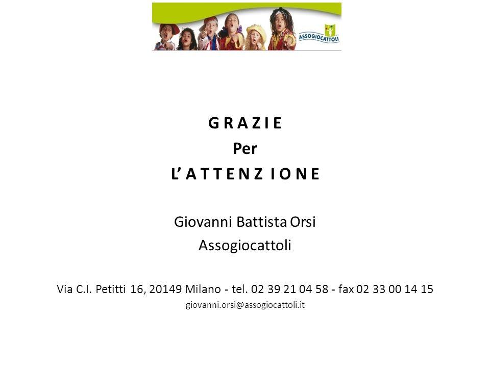 G R A Z I E Per L A T T E N Z I O N E Giovanni Battista Orsi Assogiocattoli Via C.I.