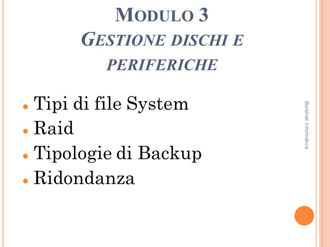 M ODULO 3 G ESTIONE DISCHI E PERIFERICHE 1 Tipi di file System Raid Tipologie di Backup Ridondanza Burstnet Informatica