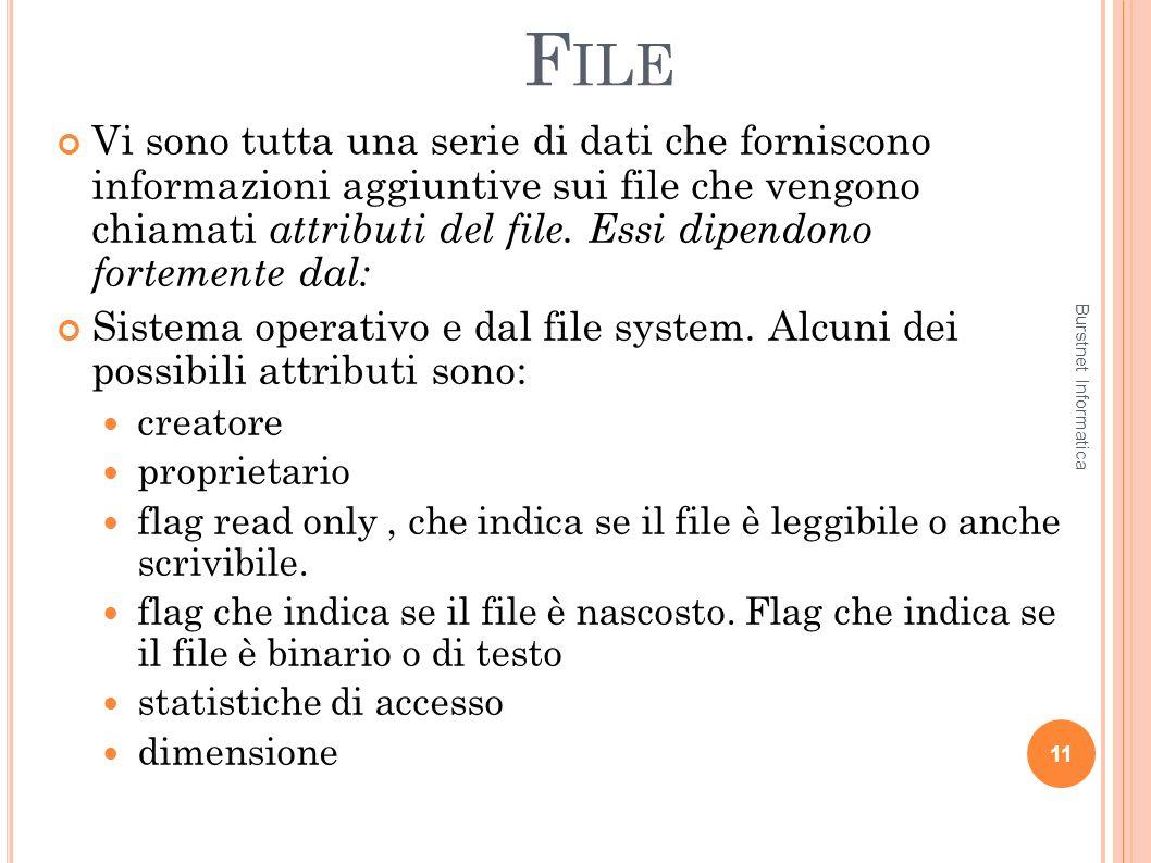 F ILE Vi sono tutta una serie di dati che forniscono informazioni aggiuntive sui file che vengono chiamati attributi del file. Essi dipendono fortemen
