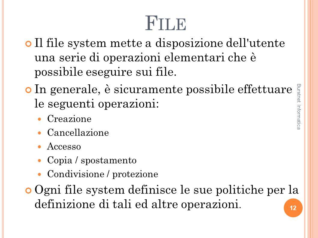 F ILE Il file system mette a disposizione dell'utente una serie di operazioni elementari che è possibile eseguire sui file. In generale, è sicuramente