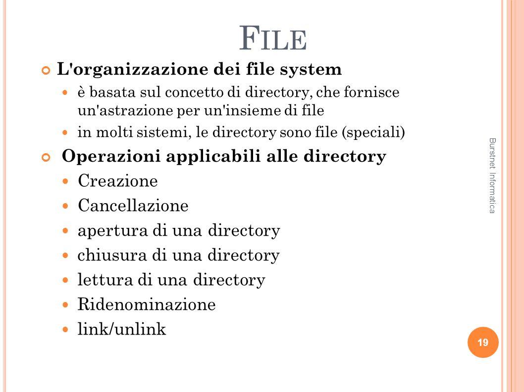 F ILE L'organizzazione dei file system è basata sul concetto di directory, che fornisce un'astrazione per un'insieme di file in molti sistemi, le dire