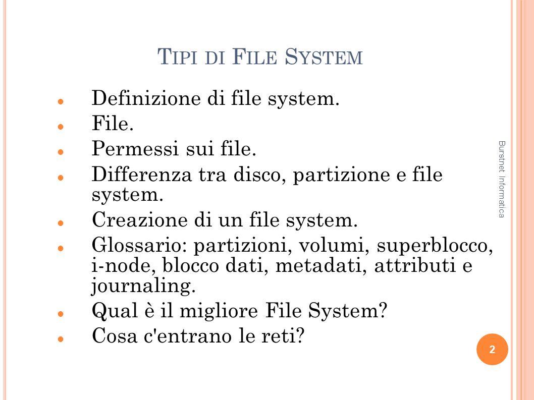 T IPI DI F ILE S YSTEM Definizione di file system. File. Permessi sui file. Differenza tra disco, partizione e file system. Creazione di un file syste