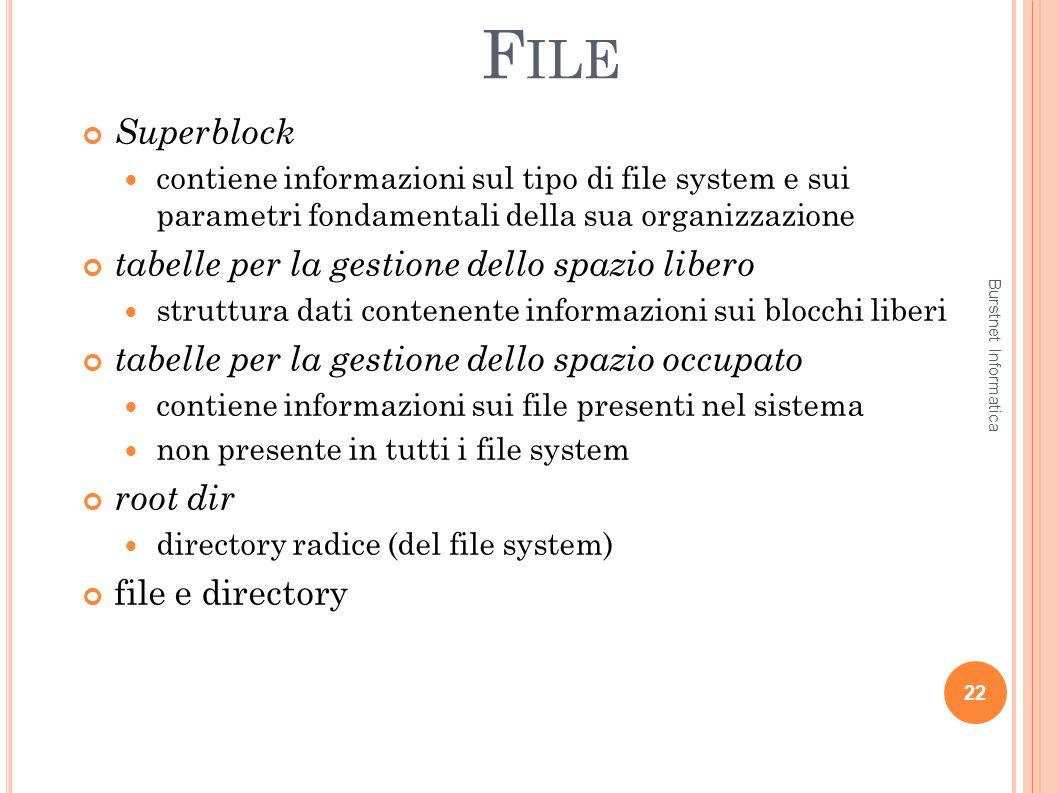 F ILE Superblock contiene informazioni sul tipo di file system e sui parametri fondamentali della sua organizzazione tabelle per la gestione dello spa