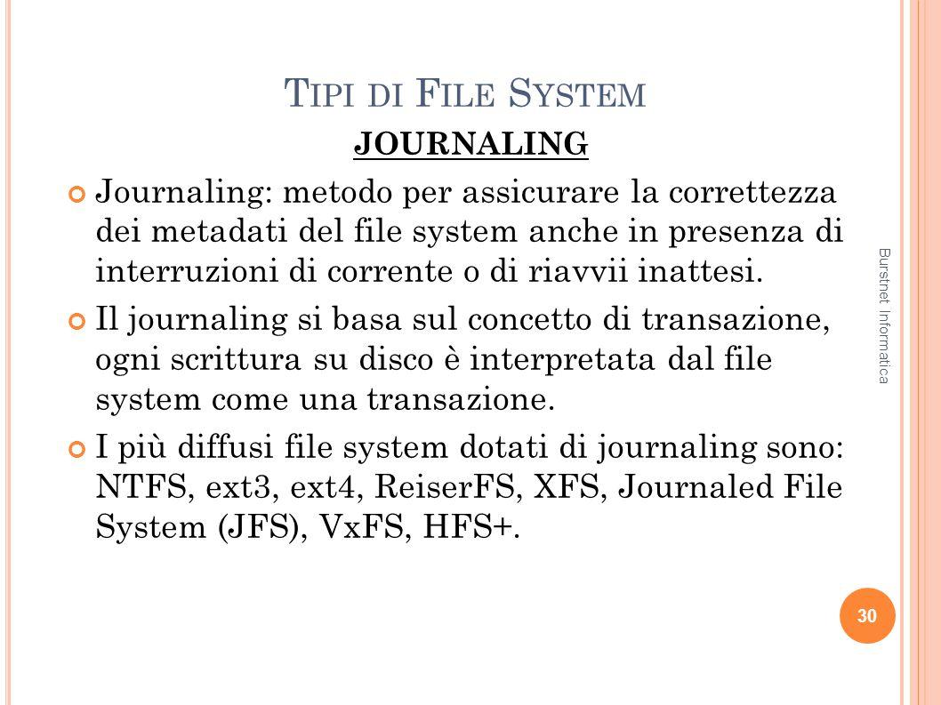 T IPI DI F ILE S YSTEM JOURNALING Journaling: metodo per assicurare la correttezza dei metadati del file system anche in presenza di interruzioni di c