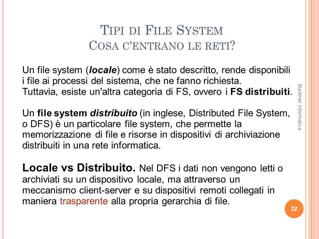 T IPI DI F ILE S YSTEM C OSA C ' ENTRANO LE RETI ? 32 Un file system (locale) come è stato descritto, rende disponibili i file ai processi del sistema