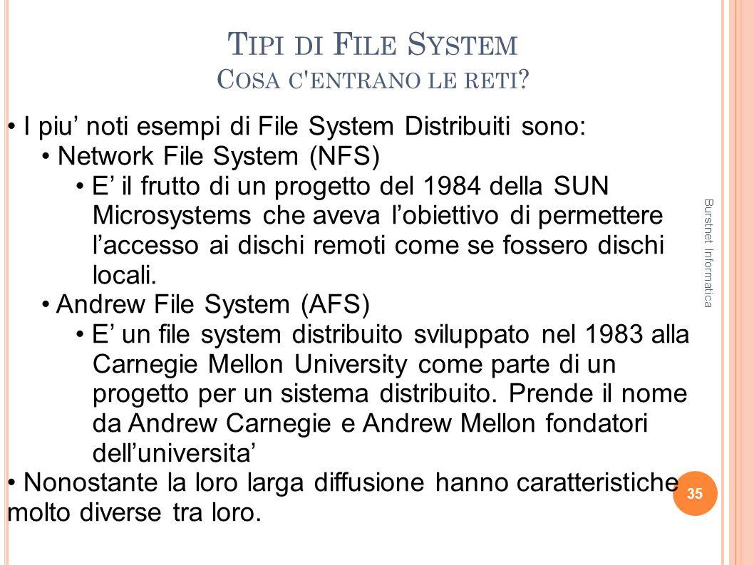 T IPI DI F ILE S YSTEM C OSA C ' ENTRANO LE RETI ? 35 I piu noti esempi di File System Distribuiti sono: Network File System (NFS) E il frutto di un p
