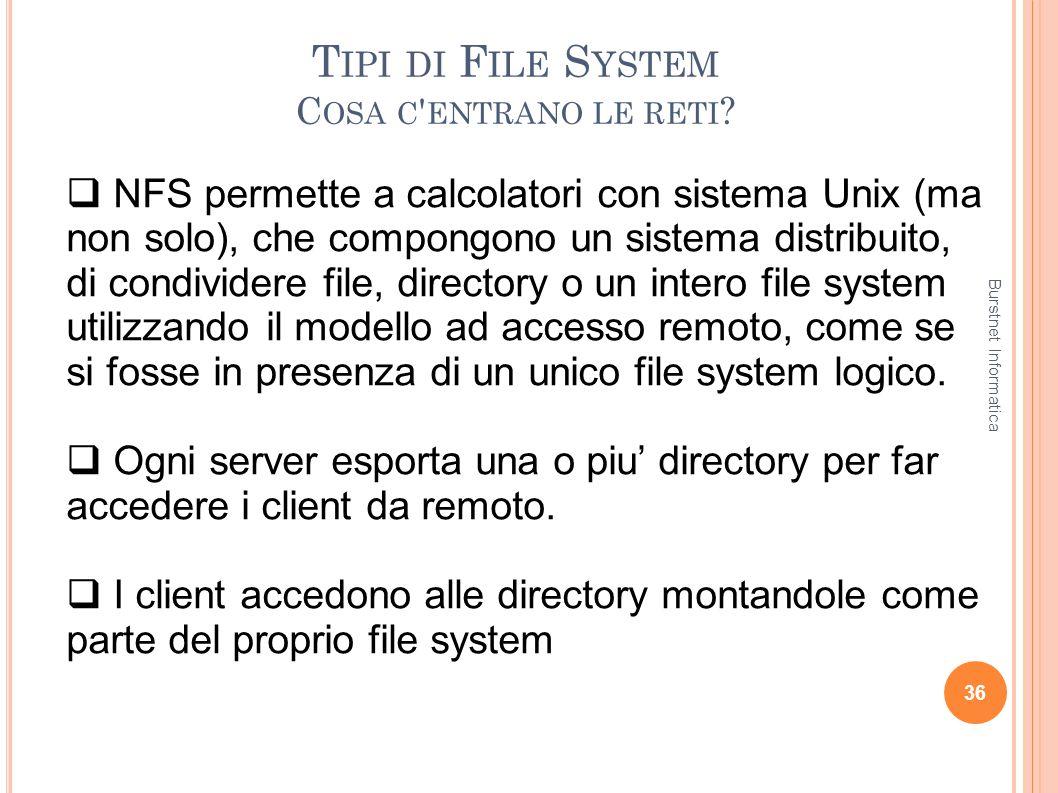 T IPI DI F ILE S YSTEM C OSA C ' ENTRANO LE RETI ? 36 NFS permette a calcolatori con sistema Unix (ma non solo), che compongono un sistema distribuito