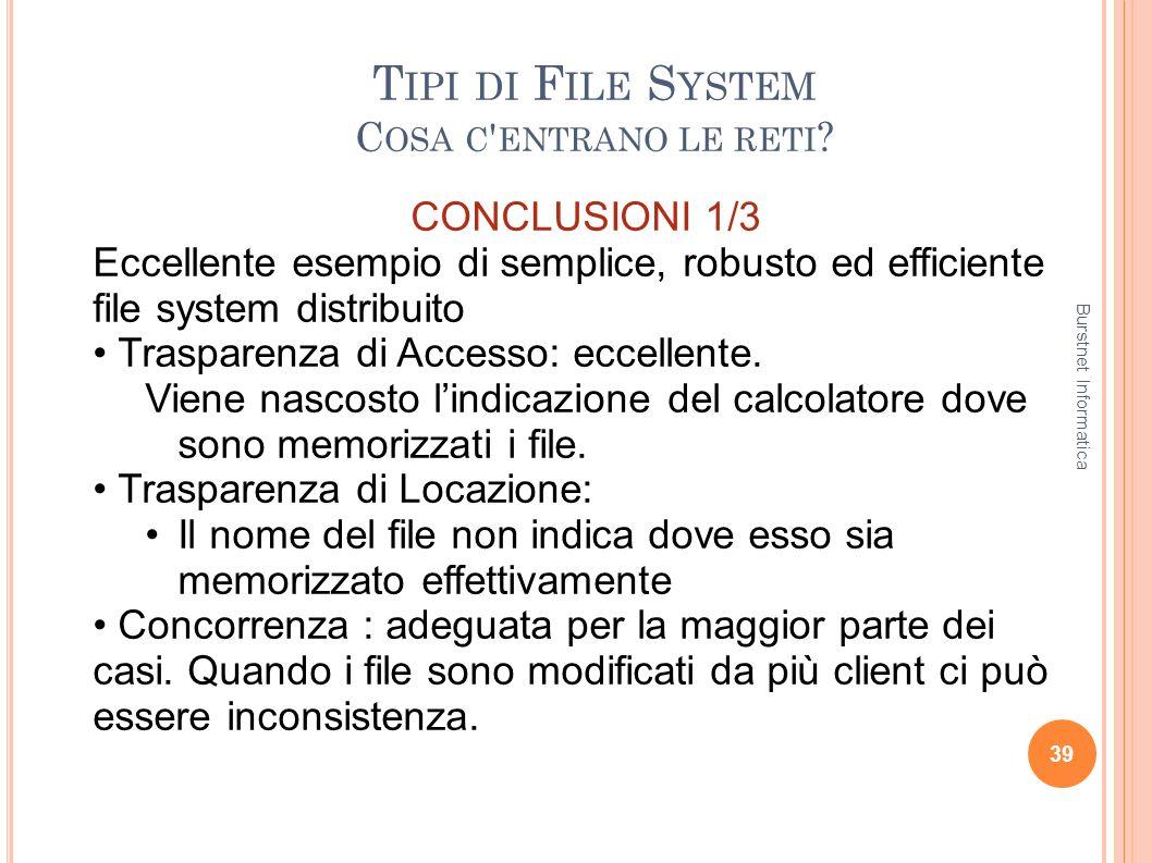 T IPI DI F ILE S YSTEM C OSA C ' ENTRANO LE RETI ? 39 CONCLUSIONI 1/3 Eccellente esempio di semplice, robusto ed efficiente file system distribuito Tr