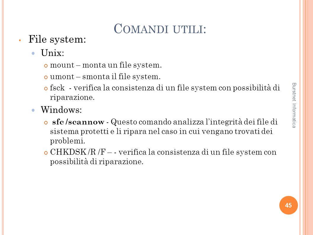 C OMANDI UTILI : File system: Unix: mount – monta un file system. umont – smonta il file system. fsck - verifica la consistenza di un file system con