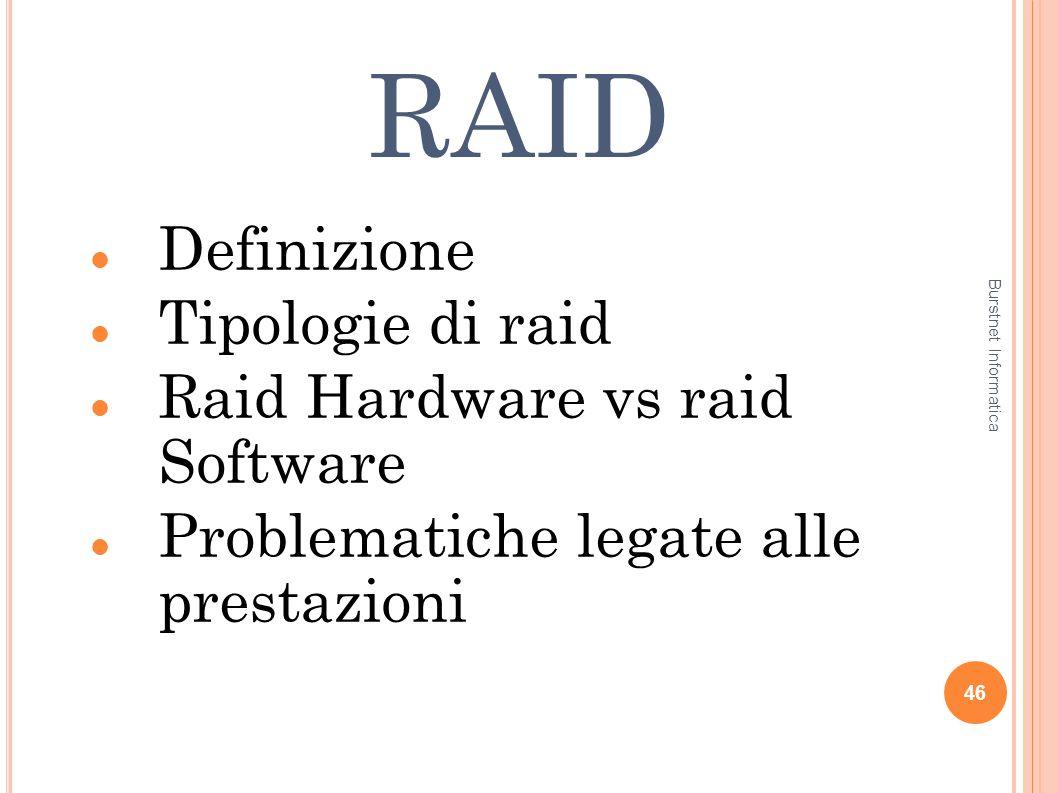 RAID Definizione Tipologie di raid Raid Hardware vs raid Software Problematiche legate alle prestazioni 46 Burstnet Informatica