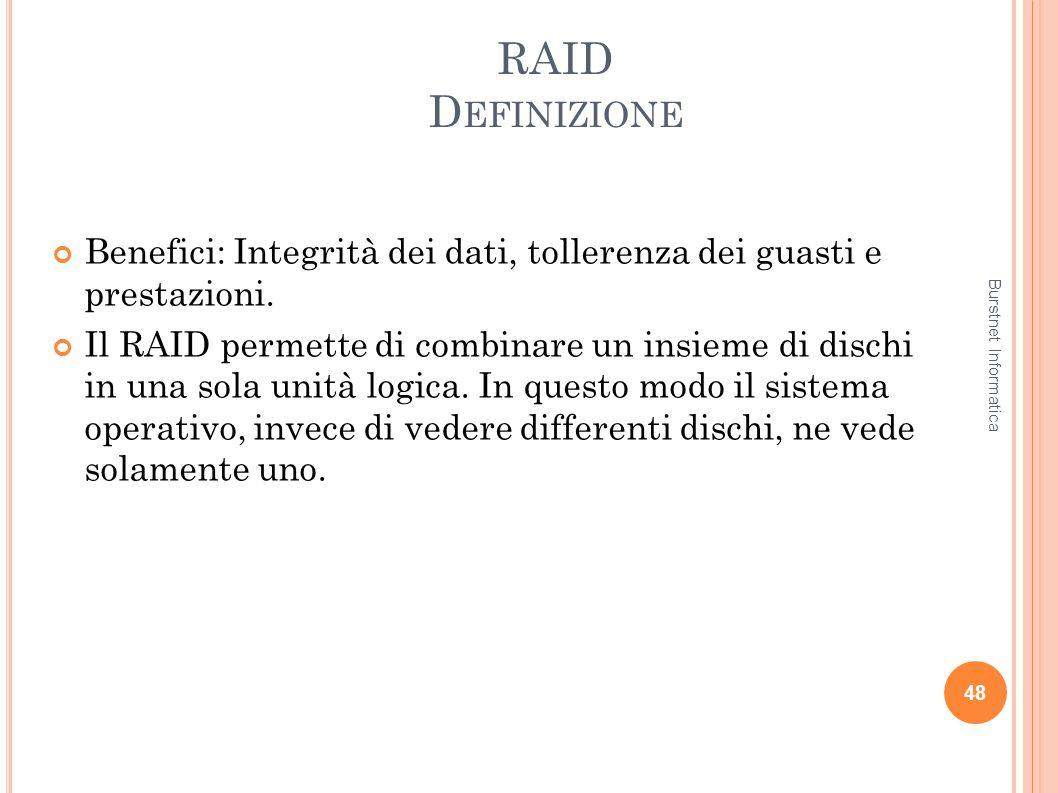 RAID D EFINIZIONE Benefici: Integrità dei dati, tollerenza dei guasti e prestazioni. Il RAID permette di combinare un insieme di dischi in una sola un