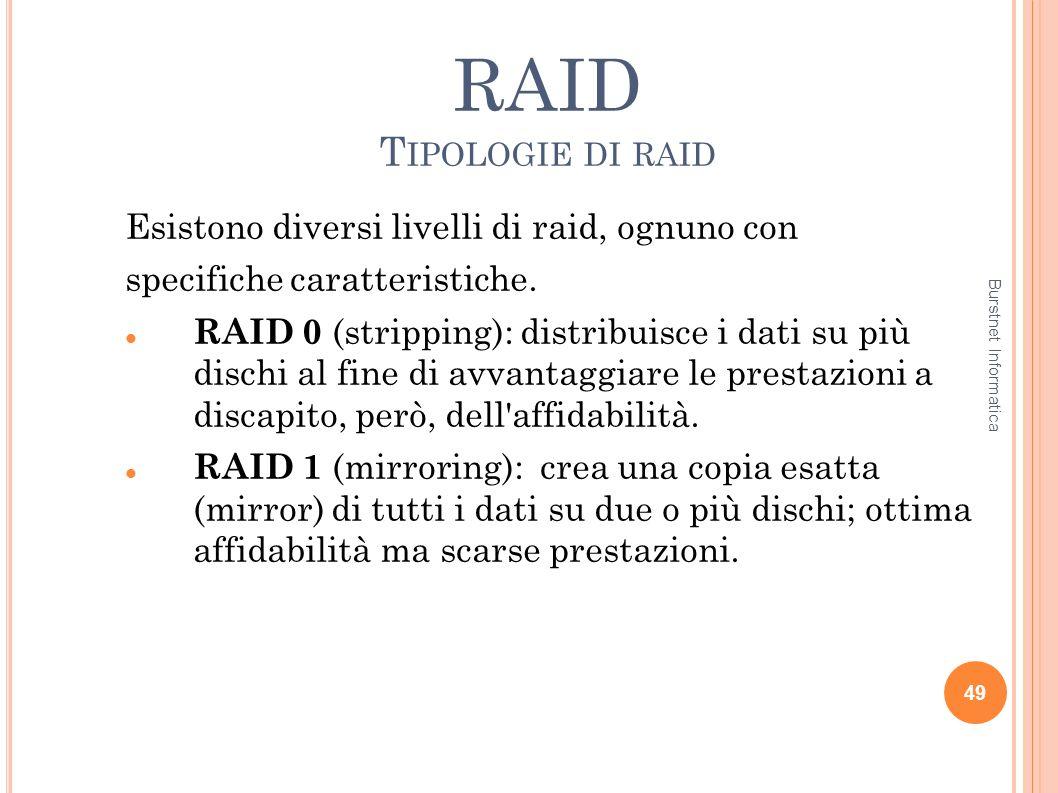 RAID T IPOLOGIE DI RAID Esistono diversi livelli di raid, ognuno con specifiche caratteristiche. RAID 0 (stripping): distribuisce i dati su più dischi