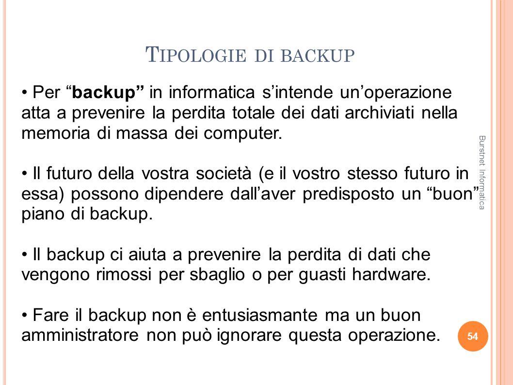T IPOLOGIE DI BACKUP 54 Per backup in informatica sintende unoperazione atta a prevenire la perdita totale dei dati archiviati nella memoria di massa