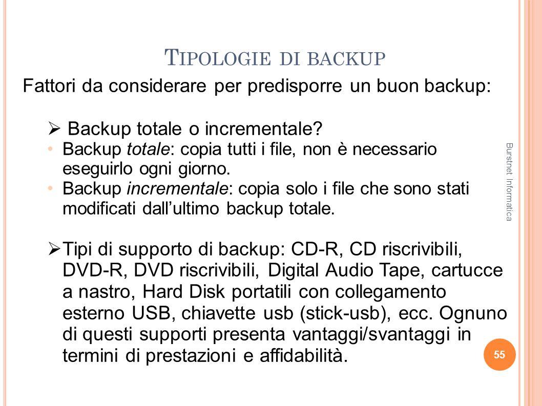 T IPOLOGIE DI BACKUP 55 Fattori da considerare per predisporre un buon backup: Backup totale o incrementale? Backup totale: copia tutti i file, non è