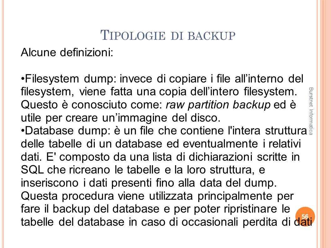 T IPOLOGIE DI BACKUP 56 Alcune definizioni: Filesystem dump: invece di copiare i file allinterno del filesystem, viene fatta una copia dellintero file
