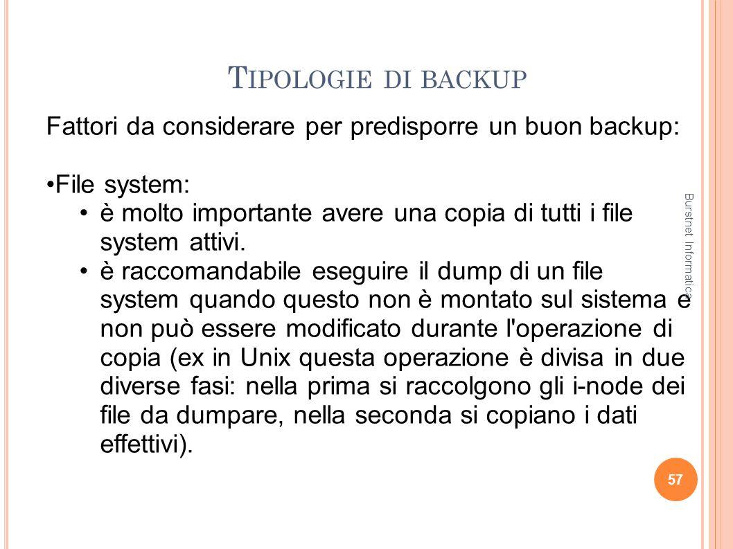 T IPOLOGIE DI BACKUP 57 Fattori da considerare per predisporre un buon backup: File system: è molto importante avere una copia di tutti i file system
